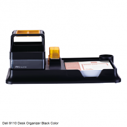 Deli 9110 Black Desk Organizer with Cubic Pad and Tape Dispenser and Drawer