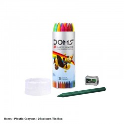 Doms Plastic Crayons 28Shades Tin Box