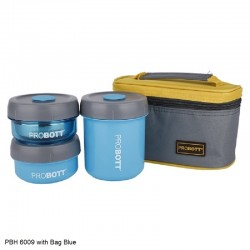 PBH6009 PROBOTT STAINLESS STEEL LUNCH BOX 3pc Set with Bag Blue