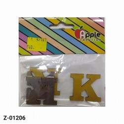 K Alphabet designer cutout in Gold and Silver