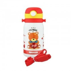 Dubblin Donut 450 Kids Stainless Steel Double Wall Vacuum Insulated BPA Free Sipper Water Bottle Red 450ml