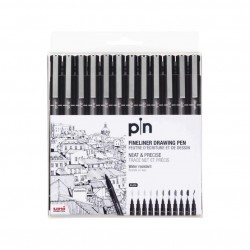 Uniball PIN-200 set of 12 Fine Line Markers 0.05/0.03/0.1/0.3/0.5/0.8mm