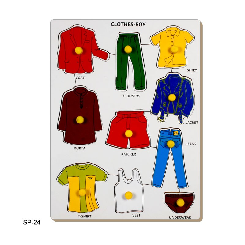 Single Piece Lift-Out Puzzle Clothes Boys Tray SP-24