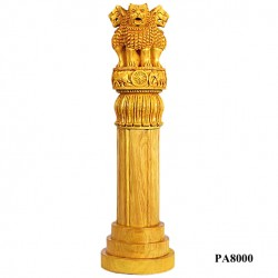 "8"" WOODEN ASHOKA CHAKRA TABLE STATUE"